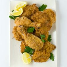 Oven-Fried Parmesan-Crusted Chicken | MyRecipes.com #myplate #protein