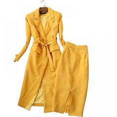 Fashion slim long-sleeved long suit windbreaker + high waist skirt two – Trending Accessories Suits For Women, Women Wear, Clothes For Women, Cheap Skirts, Winter Jackets Women, Skirt Suit, High Waisted Skirt, Waist Skirt, Coat