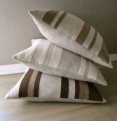 "Cashmere and Linen ""Patchwork"" Stripe Pillow- Ecru. $75.00, via Etsy."
