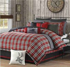 barn board walls and cozy bedding for a cold winter night