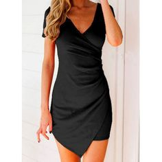 Sexy Plunging Neck Short Sleeve Asymmetrical Solid Color Women's Dress