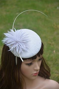 357902f8c22 Ivory Women Sinamay Feather Cocktail Fascinator Hair Comb Bridal Wedding  S 15
