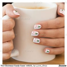 Two Christmas Candy Canes  with Ribbon #MinxNail Wraps #Zazzle #NailArt #ChristmasNails #Gravityx9 #i_Love_xmas -