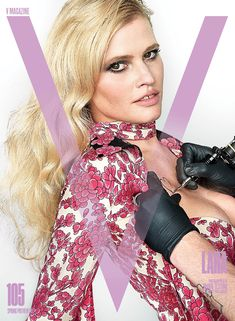 Lara Stone show off temporary tattoos on V Magazine Spring Preview 2017 Cover