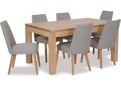 The Modena dining table is a new design from Danske Mobler and stays true to the traditional high quality look and finish synonymous with Danske Mobler furniture. Sharp straight edges and clean lines give this piece a stylish look and is expertly made in our Mt Eden factory. The Norway dining chairs with angled legs and fully upholstered seat and back make for a comfortable sitting experience and are available in a selection of fabric colours. - See more at…