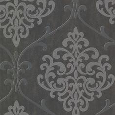 Brewster 2542-20718 Ambrosia Charcoal Glitter Damask Wallpaper, Grey