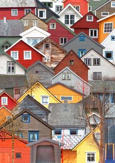 Voss, Norway, coloured houses
