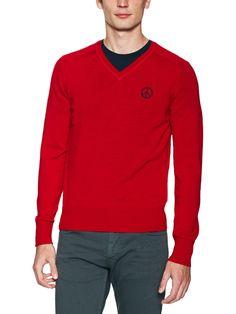 Knit V-Neck Logo Sweater