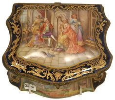 MARKED SEVRES FRENCH HINGED DRESSER BOX, COBALT BLUE BORDER WITH GOLD ENAMEL HIGHLIGHTS SURROUNDING ELABORATE PALACE SCENES - WHITE INTERIOR WITH SCATTERED FLORAL DECORATIVE DECOR -