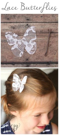 Stiffened Lace Butterfly Hair Pins Stiffened Lace Butterfly Hair Pins The post Stiffened Lace Butterfly Hair Pins appeared first on Lace Diy. Diy Hair Bows, Diy Bow, Butterfly Hair, Butterfly Crafts, Diy Beauté, Easy Diy, Baby Hair Clips, Lace Hair, Hair Accessories For Women