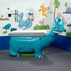 Great idea! Dinosaur exam table for pediatric patients.