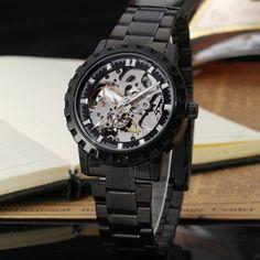 buy winner whole fashion cool fine skeleton leather watches winner black skeleton stainless steel bracelet relojes hombre men s watch forsining watch company limited