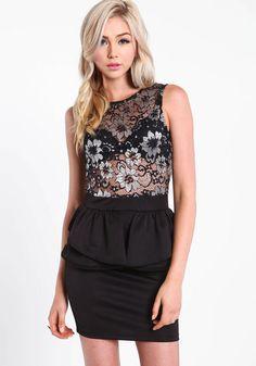 Floral Lace Peplum Dress