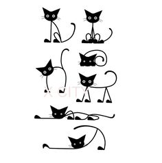 Adorable-Cat-Row-Cartoon-Silhouette-Wall-Art-Decal-Sticker-Removable-Vinyl-Cut-Transfer-Stencil-Mural-Home.jpg (837×847)
