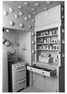 Womanhouse installation in Los Angeles, featuring Robin Weltsch's Kitchen and Vicki Hodgetts's Eggs to Breasts (Sponsored by Feminist Art Program at CalArts), 1972. The Getty Research Institute, 2000.M.43.1. Photo courtesy Lloyd Hamrol   @ CalArts