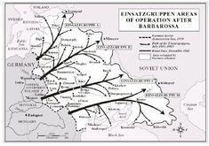 Einsatzgruppen Moving into Soviet Union Russia 1941. Areas of operation map
