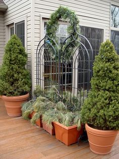 Many shrubs and evergreens will overwinter outside in pots, but ceramic ones are highly prone to breaking. Plastic, foam and concrete ones are much more freeze-tolerant.