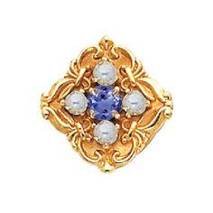 14K Gold Tanzanite Pearl Victorian Bracelet Slide 81011