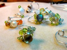 so many rings!!!  handcrafted silver and semiprecious rings