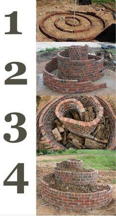Brick spiral flower bed