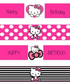 Hello Kitty Water Bottle Labels by MustLoveParties on Etsy
