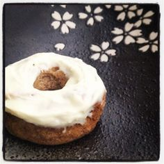 Gingerbread Mini Donuts - with Orange Cream Cheese Frosting. Grain free, no sugar added. Made with coconut flour and almond flour. Gluten free.