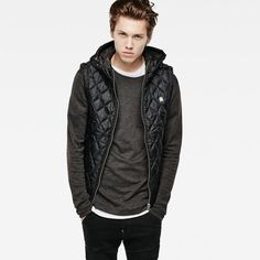 G-Star RAW |    Hommes | Vestes Et Blousons | Meefic Quilted Hooded Vest        , Asfalt Grey