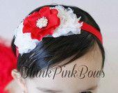 Baby Hair Bow, flower headband, baby headbands, shabby chic roses headband, baby girl headband, hairbow, hair bows, baby bow. $9.95, via Etsy.