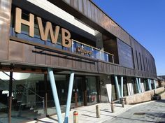 Denbigh Hwb - one of 30 best buildings in Wales. Copper cladding, colonade
