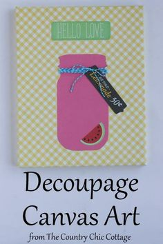 Decoupage Canvas Art -- grab some paper and decoupage to make your own fun art quickly. Create something for downstairs bathroom. Canvas Art Projects, Diy Canvas Art, Diy Wall Art, Diy Craft Projects, Diy Art, Fun Crafts, Canvas Ideas, Craft Ideas, Craft Art