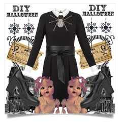 """""""DIY: Wednesday Addams"""" by capricat ❤ liked on Polyvore featuring Ted Baker, Hogan, Jaeger, halloweencostume and DIYHalloween"""