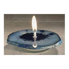 An agate rock oil candle would make a unique and everlasting unity candle Blue Candles, Oil Candles, Recycled Timber Furniture, Fire Rocks, Unity Sand, Brazilian Agate, Rock Design, Clay Flowers, Agate Rock
