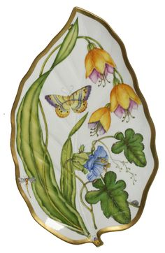 "Anna Weatherley Summer Garden Leaf Tray. ""Inspired by the artisanal tradition of Hungary, Anna Weatherley hand paints fine European porcelain and accents it with 24 karat gold."" --Scully and Scully"