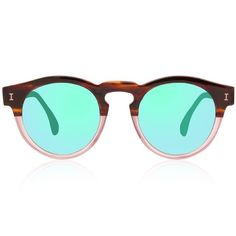 f2b36f3de7 These sunglasses already know they want to be at the beach ! Illesteva s  Half   Half Leonard with green mirrors Men s Sunglasses (combination of  acetate and ...