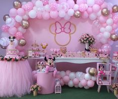 Check beautiful inspiration to mount a party Minnie pink, with tutorials and creative that will help you customize your party! 1st Birthday Girl Decorations, Minnie Mouse Birthday Decorations, Minnie Mouse Theme Party, Minnie Mouse First Birthday, 1st Birthday Party For Girls, Minnie Mouse Baby Shower, Girl Birthday Themes, Girl Baby Shower Decorations, Mickey Mouse