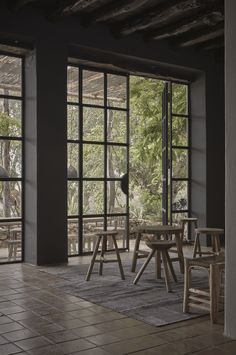 Steel-framed windows at La Granja Ibiza, a Design Hotels retreat on a 16th century finca | Remodelista