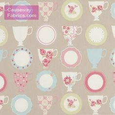 Teacups Taupe - Custom Curtains