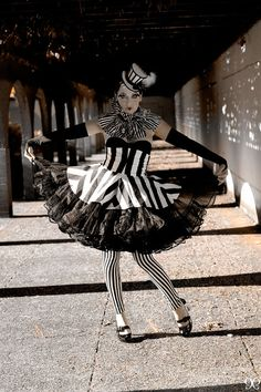 Peplum Peplum in Black and White Stripes by TrappedInTimeDesigns
