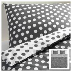 STENKLÖVER Funda nórd y 2 fundas almohada - blanco/gris, 240x220/50x60 cm - IKEA