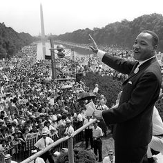 """From Remembering Martin Luther King Jr. in Photos, one of 37 photos. Civil rights leader Martin Luther King waves to supporters on August 1963 on the Mall in Washington DC during the """"March on. Nelson Mandela, Civil Rights Leaders, Civil Rights Movement, Political Leaders, Mahatma Gandhi, Ronald Reagan, King's Speech, Powerful Pictures, Powerful Quotes"""