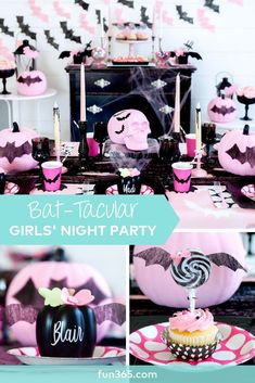 Who knew a girls' night in could be so fun?! This adorable girly Halloween party is full of pumpkins and bats and would make any girls squeal with delight, not fright.