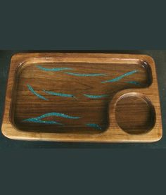 Gift Idea: Wood Chip and Dip Tray with Inlaid Turquoise   Rectangle - Bring out this turquoise inlaid serving platter at all your gatherings for chips or veggies, and use the smaller section to hold a bowl of your favorite dip or salsa. http://rusticartistry.com/product/wood-chip-and-dip-tray-with-inlaid-turquoise-rectangle/