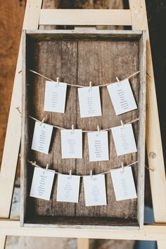 Crate Seating Plan Chart Twine Pegs Relaxed Fun Rustic Countryside Barn Wedding http://www.paulunderhill.com/