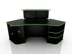 corner computer desk for gaming black color with green strip
