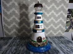 Solar Light-Clay Pot Lighthouse-Yard Art-made to