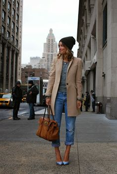 camel coat + grey knit + blue jean + mulberry Bayswater (lucy laucht)