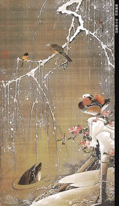 Birds in Snow by Ito Jakuchu -- painted scroll
