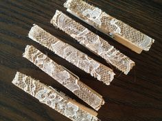 Wedding Lace and Burlap Clothespins Seat Place Card Holders Favors Decorations - Set of 50 - Farm Barn Country Rustic Twine. $50.00, via Etsy.