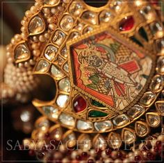 Explore shaadidukaan india's collection of The Unique Sabyasachi Gem Jewelry images on Designspiration. Fancy Jewellery, Royal Jewelry, Gold Jewellery Design, Gems Jewelry, Photo Jewelry, Designer Jewelry, Indian Wedding Jewelry, Diamond Necklaces, Gold Necklace