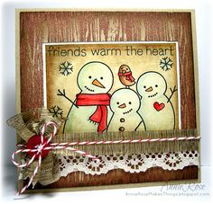 Friends Warm The Heart - card with stamps from Lawn Fawn, via Flickr.